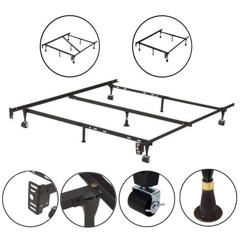 Kings Brand Furniture 7-Leg Adjustable Metal Bed Frame with Center Support Rug Rollers and Locking Wheels for QueenFullFull XLTwinTwin XL Beds
