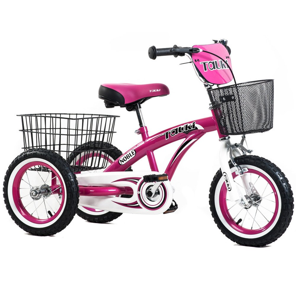 Tauki Kids Tricycle with Front and Rear Baskets, Ride-On Toddler Trike for 2 3 4 5 Years Old Boys and Grils