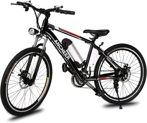ANCHEER 500W250W Electric Bike Adult Electric Mountain Bike, 26 Electric Bicycle 20Mph with Removable 12.5Ah8AH Lithium-Ion Battery, Professional 21 Speed Gears