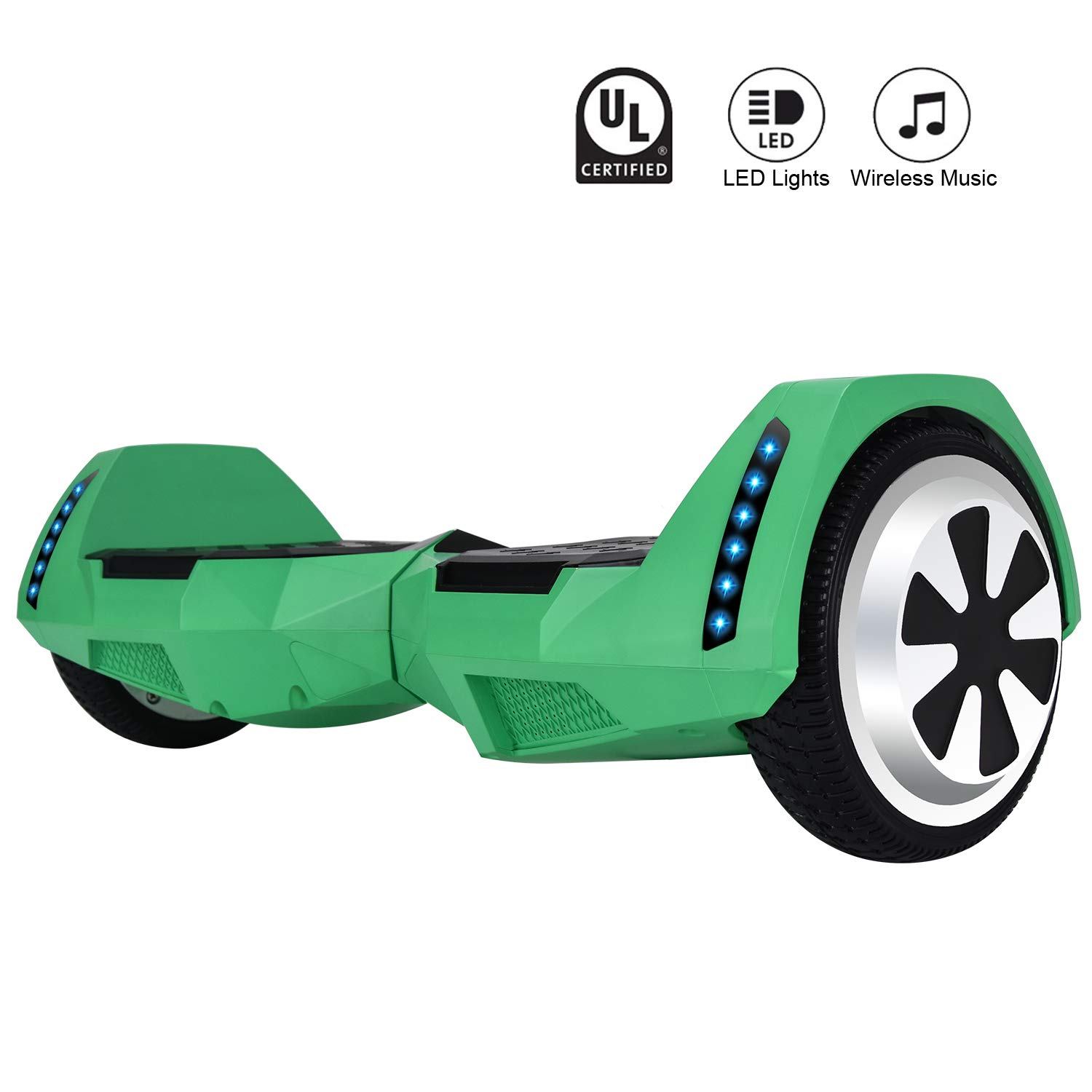 CXMScooter Bluetooth Enabled 6.5 inch Self Balancing Hoverboard with Built-in Wireless Speaker,250Watt Dual Motors and LED Side Lights for Kids and Adults...