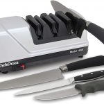 Chef'sChoice 15 Trizor XV EdgeSelect Professional Electric Knife Sharpener for Straight and Serrated Knives Diamond Abrasives Patented Sharpening System Made in USA, 3-Stage, Gray