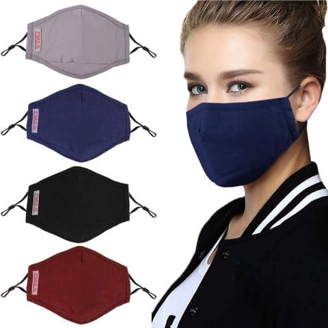 Fascigirl Reusable Dust Masks, 4pcs Anti Dust Pollution PM2.5 Mask with 8pcs Activated Carbon Filter Insert Washable Cotton Mouth Mask with Adjustable Straps