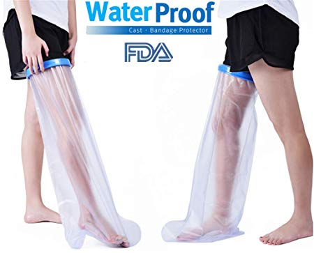 Hain Adult Leg Cast Cover, HAIN Clear Waterproof Shower Bandage Protector with Seal Protection for Foot, Knee, Ankle Wound in Bathing or Swimming, 100% Reusable(Full Size) (Long Leg)