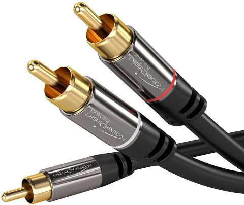 KabelDirekt RCA Stereo Cable, Cord (15 feet Long, 1 RCA Male to 2 RCA Male Audio Cable, Digital & Analogue, Double Shielded, Pro Series) Supports (Subwoofers, Home Theater, Hi-Fi)