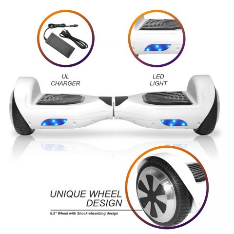 "NHT 6.5"" Matte Classic Style Hoverboard Self Balancing Scooter w/LED Lights Silver Wheels (White)"