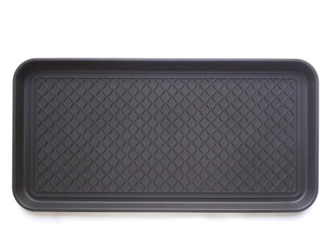 "Ottomanson TRY400-30X15 Multi-Purpose Indoor & Outdoor Waterproof Tray, 15"" x 30"", Black"