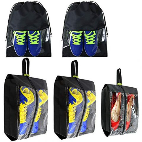 Travel-Accessories-Large-Waterproof-Shoes-Storage-Bag-Clear for Men Women Gym 5 Pack Black