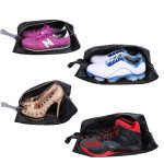 YAMIU Travel Shoe Bags Set of 4 Waterproof Nylon with Zipper for Men & Women, Black
