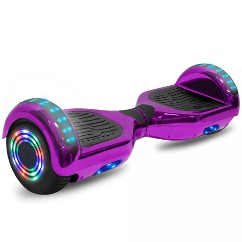 cho Electric Hoverboard Smart Self Balancing Scooter Hover Board Built-in Speaker LED Wheels Side Lights for Kids- Safety Certified