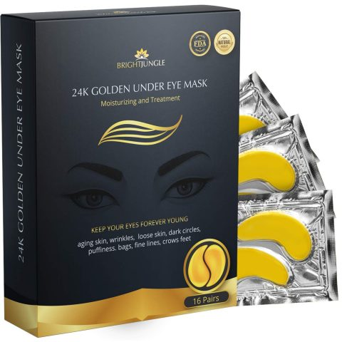 BrightJungle Under Eye Collagen Patch, 24K Gold Anti-Aging Mask, Pads for Puffy Eyes & Bags, Dark Circles and Wrinkles, with Hyaluronic Acid, Hydrogel, Deep Moisturizing Improves elasticity, 16 Pairs