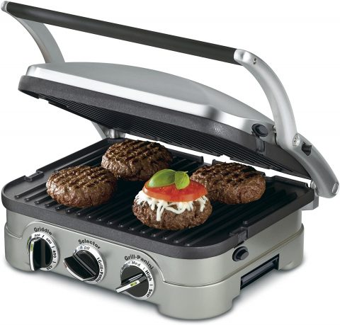 Cuisinart GR-4NP1 GR-4N 5-in-1 Griddler, 13.5(L) x 11.5(W) x 7.12(H), Silver with SilverBlack Dials