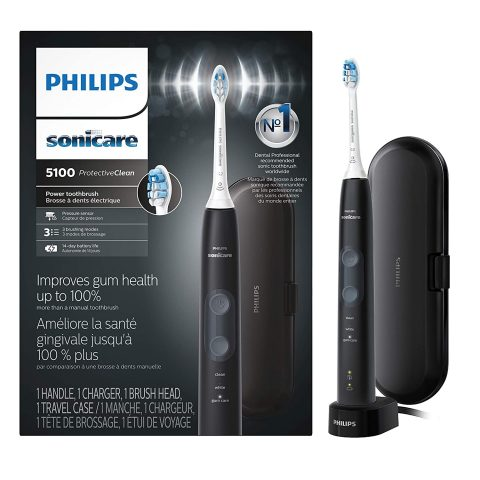 Philips Sonicare HX685060 ProtectiveClean 5100 Rechargeable Electric Toothbrush, Black