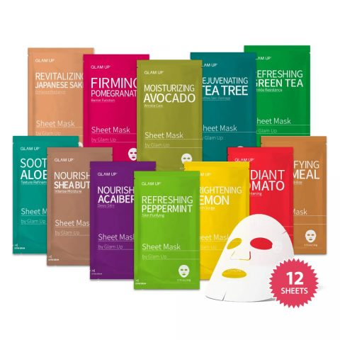 Sheet mask by Glam Up Facial Sheet Mask BTS 12Combo-The Ultimate Supreme Collection for Every Skin Condition Day to Day Skin Concerns. Nature made Freshly