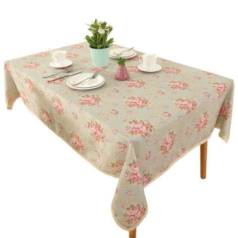 Vintage Flower Decorative 55x71 Rectangle Linen Table cloth by HIGHFLY - Printed Pattern Washable Table cloth Dinner Kitchen Home Decor - Multi Colors & Sizes