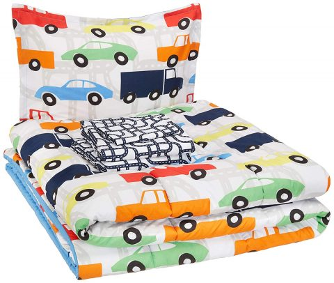 AmazonBasics Easy Care Super Soft Microfiber Kid's Bed-in-a-Bag Bedding Set - Twin, Multi-Color Racing Cars