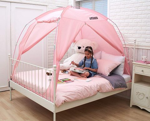 BESTEN Floorless Indoor Privacy Tent on Bed with Color Poles for Cozy Sleep in Drafty Rooms (FullQueen, Pink)