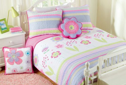 Cozy Line Home Fashions Pink Blossom Floral Print 100% Cotton Reversible Quilt Bedding Set, Coverlet, Bedspreads (Twin - 2 Piece 1 Quilt + 1 Standard Sham)
