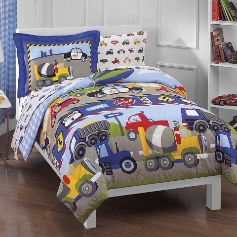 Dream-Factory-Trucks-Tractors-Cars-Boys-5-Piece-Comforter-Sheet-Set