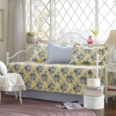 Laura Ashley 5 Piece Linley Daybed Cover Set, Yellow
