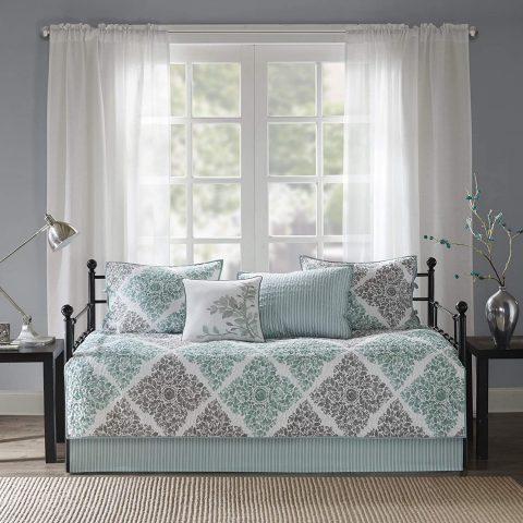 Madison Park Claire Daybed Size Quilt Bedding Set - Aqua, Grey , Leaf Geometric – 6 Piece Bedding Quilt Coverlets – Ultra Soft Microfiber Bed Quilts Quilted Coverlet