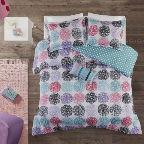 Mi Zone Carly Comforter Set FullQueen Size - Teal, Purple , Doodled Circles Polka Dots – 4 Piece Bed Sets – Ultra Soft Microfiber Teen Bedding For Girls