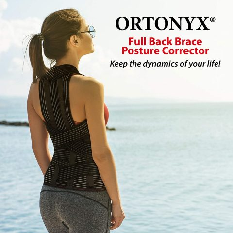 ORTONYX Full Back Support Brace with Removable Dorso-Lumbar Pad - Upper and Lower Back Pain Relief, Thoracic Kyphosis, Rounded Shoulders, Posture CorrectionM