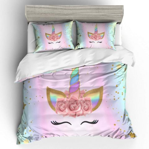 Prula Girls Unicorn Duvet Cover Set Pink Bedding Duvet Cover Set Twin Girls Printed Modern Lightweight Kids Bedding Set for Teens (NO Comforter Included)