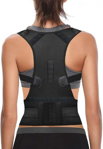 Thoracic Back Brace Posture Corrector for Women and Men - Improves Posture and Provides Lumbar Support - Magnetic Support Brace for Neck Shoulder Upper and Lower Back Pain Relief (Black, Large)