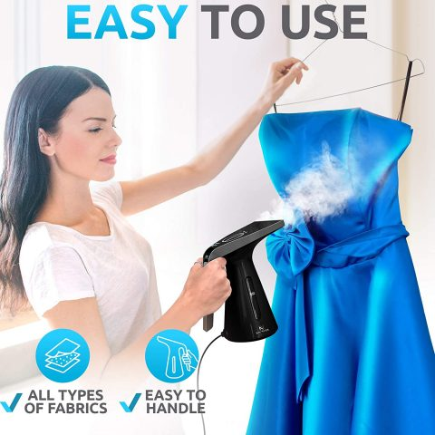 ANVISH Steamer for Clothes, Handheld Garment Portable Steamer Clothing, Mini Travel Fabric Steam Iron Wrinkle Remover with High Capacity [Upgraded Version]
