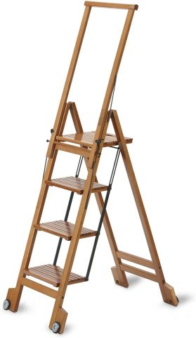 ARIS BIBLIO 4 - Folding Step Ladder in Solid Beech Wood - Handcrafted in Italy - Cherry Finish
