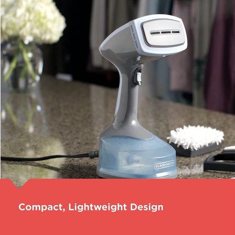BLACK+DECKER Advanced Handheld Garment Fabric Steamer with 3 Attachments, GrayBlue, HGS200