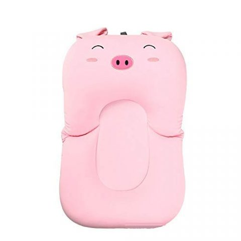 Baby Foldable Bath Mat Baby Bath Air Cushion Bed Baby Bath Mat Non-Slip Bath Mat Safe Bath Seat Support (Pink Pig)