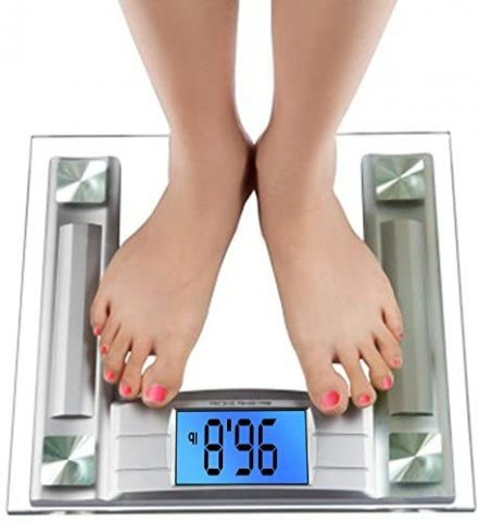 BalanceFrom Digital Body Weight Bathroom Scale with Step-On Technology and Backlight Display, 400 Pounds, Silver, Large