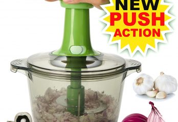 Brieftons Express Food Chopper Large 8.5-Cup, Quick & Powerful Manual Hand Held Chopper to Chop & Cut Fruits, Vegetables, Herbs, Onions for Salsa, Salad, Pesto, Hummus, Guacamole, Coleslaw, Puree