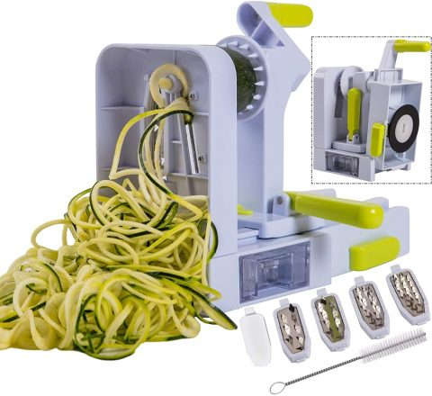 Brieftons QuickFold 5-Blade Spiralizer Versatile & Compact Foldable Vegetable Spiral Slicer, Best Veggie Pasta Spaghetti Maker for Low CarbPaleoGluten-Free with Brush & 4 Recipe Ebooks