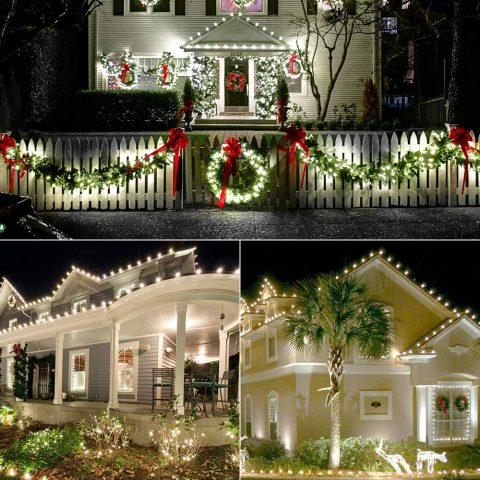 Brizled C9 Christmas Lights White, 16ft Faceted 25 LED Christmas Lights String Connectable Outdoor Xmas Decorative Light Strand, 120V UL Certified for Christmas Tree, Garden, Holiday, Yard, Party