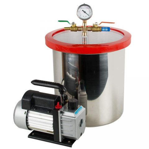 Carejoy 5 Gallon Stainless Steel Vacuum Degassing Chamber Silicone Kit w3 CFM Pump Hose 110V (Ship from US)