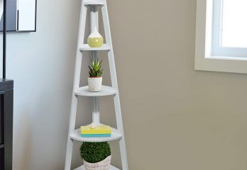 Casual Home 5-Shelf Corner Ladder White Bookcase