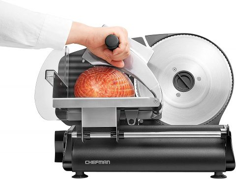 Chefman Electric Deli & Food Slicer Machine for Home Use Slice Meat, Cheese, Bread, Fruit & Vegetables, Adjustable Thickness, Blade, Safe Non-Slip Feet, Easy to Clean, BlackDie Cast Stainless Steel