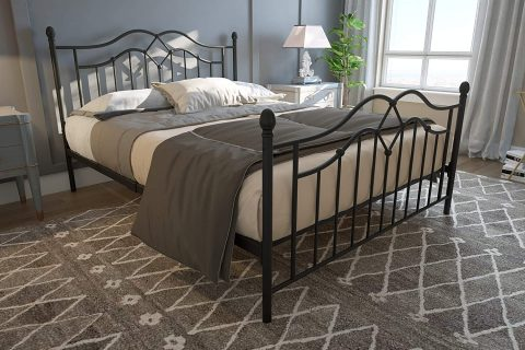DHP Tokyo Metal Bed, Classic Design, Includes Metal Slats, Queen, Bronze
