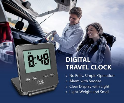 Digital Travel Alarm Clock - No Bells, No Whistles, Simple Basic Operation, Loud Alarm, Snooze, Small and Light, ONOff Switch, 2 AAA Battery Powered, Black