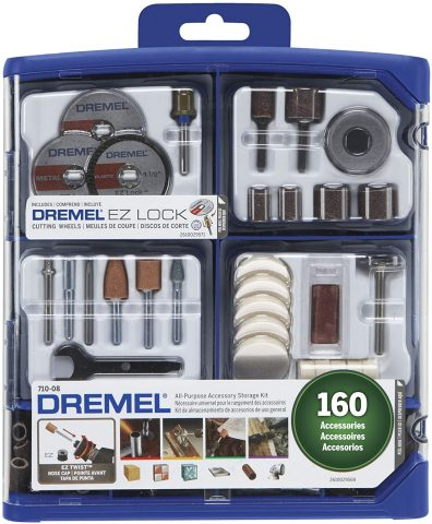 Dremel Rotary Tool Accessory Kit- 710-08- 160 Accessories- EZ Lock Technology- 18 inch Shank- Cutting Bits, Polishing Wheel and Compound, Sanding Disc and Drum, Carving, Sharpening, and Engraving