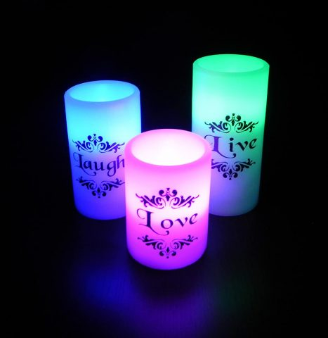 EGI - Set of 3 Flickering Flameless Candles with Multi Color Remote Control and Timer - Romantic Led Candles - with Live, Love, Laugh Decal - Made with Real Wax