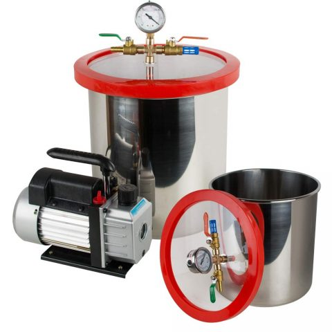 Enshey 5 Gallon Vacuum Chamber - Stainless Steel Vacuum Degassing Chamber Silicone Kit w3 CFM Pump Hose (Shipping from USA)
