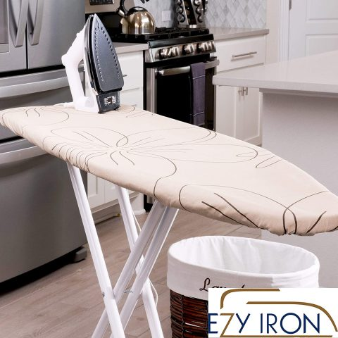 Ezy Iron Padded Ironing Board Cover Thick Padding, Slashes Your Iron Time, Heat Reflective Fits Standard and Large Boards 15 x 54 Premium Heavy Duty Cover and Pad (Beige)