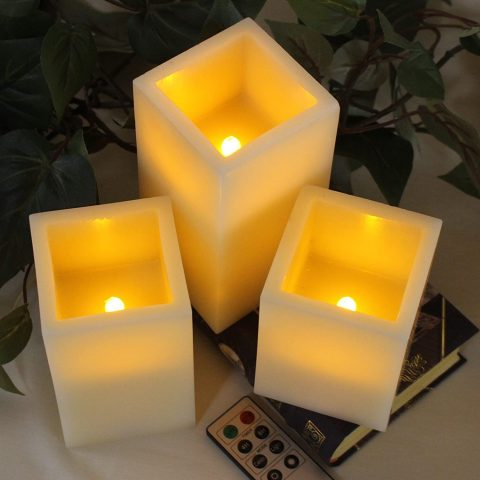 Flickering Flameless Candles Battery Operated 3 SQUARE Ivory Wax and Amber yellow Flame, auto-off Timer Remote Control, Large fake Battery Powered Candles by LED Lytes