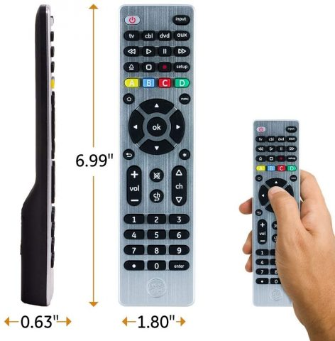 GE Universal Remote Control for Samsung, Vizio, LG, Sony, Sharp, Roku, Apple TV, RCA, Panasonic, Smart TVs, Streaming Players, Blu-ray, DVD, 4-Device, Silver, 33709