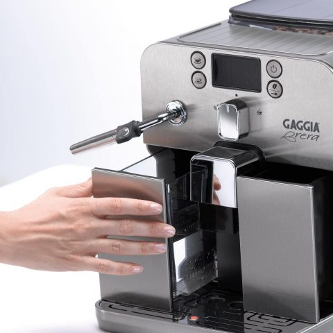 Gaggia Brera Super Automatic Espresso Machine in Black. Pannarello Wand Frothing for Latte and Cappuccino Drinks. Espresso from Pre-Ground or Whole Bean Coffee.
