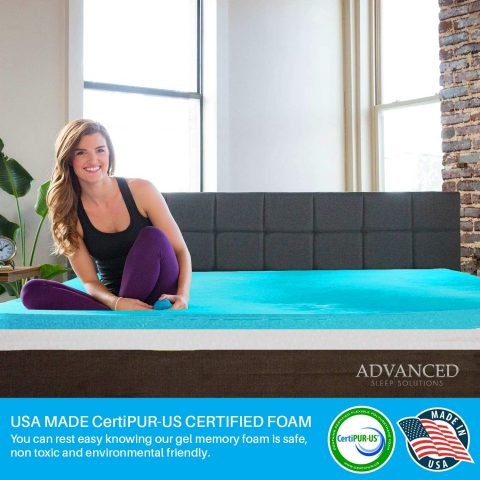 Gel Memory Foam Mattress Topper, Plush Queen Size 2 Inch Thick, Premium Gel-Infused Memory Foam MattressBed TopperPad for a Cool, Conforming, and Comfortable Sleep. Made in The USA - 3 Year Warranty