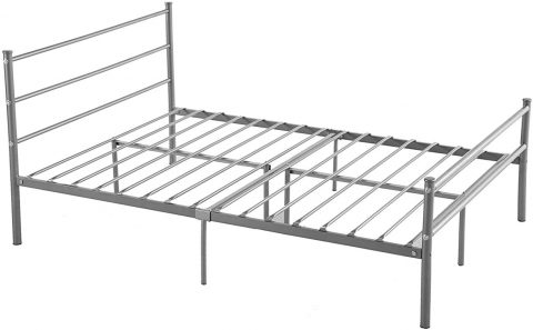 GreenForest Metal Bed Frame Full Size, 10 Legs Mattress Foundation Two Headboards Silver Platform Bed Frame Box Spring Replacement